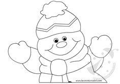 Pupazzo di neve con tre fiocchi di neve pendenti da realizzare con i cartoncini colorati e il filo di nylon. Addobbi invernali per aula scuola Lavoretti in