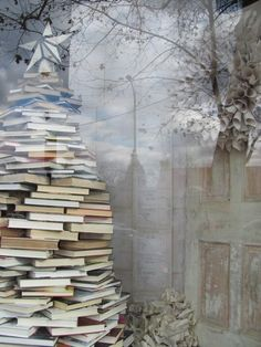 Stacked Books Tree - The Moravian Book Shop, image by Soon Remembered Tales