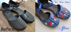 Tea Rose Home- Mary Jane Swedish folk art makeover with Angeles Leather Paints from Dharma! #shoes #painting #leather