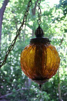 Vintage Hanging Light Hanging Lamp Swag Lamp Amber Orange Globe Beehive Shape Chain