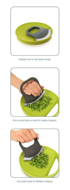 New Zeal Chop and Slide Herb Cutting Set. Magnetic to hold the knife in place on the board. Can roll the knife easily back and forth over the herbs and slide them into your pot or pan. By Kitchen Innovations