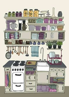 """""""The kitchen"""" - drawn by Kristine Agøy Sand Children's Book Illustration, Illustrations, Watercolor Illustration, Perspective Sketch, Kitchen Drawing, House Drawing, Hippie Art, Cute Drawings, Art Prints"""