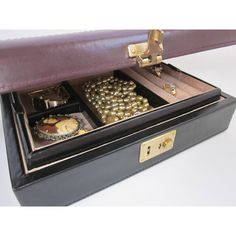 Genuine Leather Covered Jewelry Box Two Section Chest Masculine Black... (€17) ❤ liked on Polyvore featuring men's fashion
