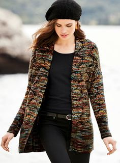 Fusing Milanese technique with artisan-made yarns, the cardigan is an impressionistic mirage of autumnal jewel tones. Knit of soft, hand-painted, alpaca (93%) and wool (7%) bouclé yarns, it has drop shoulders, concealed pockets, a buttonless placket and darkened ribbing at the cuffs and hem.