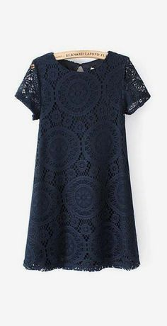 Fine Quality A Line Design Navy Blue Dress