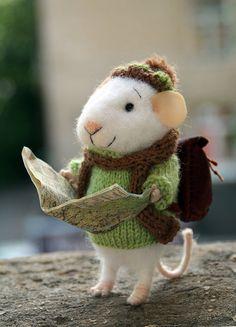 naald vilten reiziger muis, toeristische muis, ontdekker, Gevilte muis, vilt dier, voelde muis, muis met tas, eco speelgoed, voelde muizen