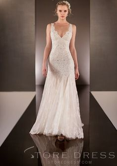 Elegent Straps Sequins Court Train Wedding Dress - Storedress.com