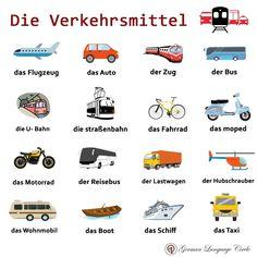 Die Verkehrsmittel - Means of Transport! .. .. For more: Follow @germanlanguagecircle Follow @germanlanguagecircle  Follow @germanlanguagecircle  Follow @germanlanguagecircle .. .. #german #germanlanguage #germany🇩🇪 #germanlanguageschool #germanlanguagecircle #taxi #boot #foreignlanguage #goetheinstitut #goetheinstitute #maxmueller #maxmuellerbhavan #learn #learning #deutsch #deutschdrahthaar #languages #languagecourse #lernen #lernendeutsch #ichsprechedeutsch #deutschlernen #learngerman #verk I Want To Work, Give It To Me, German Grammar, German Language Learning, Social Link, Der Bus, U Bahn, Learn German, Future Career