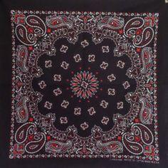 "Black & Red Paisley 22"" Bandana 100% Cotton Made in USA    eBay twistedpeace www.twistedpeace.us"