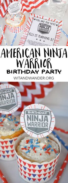 American Ninja Warrior Birthday Party for Preschoolers and Elementary Kids. They will love the DIY obstacle course and you will love the Free Printable cupcake toppers, party invitations, water bottle (Bottle Wrapping) Ninja Birthday Parties, Ninja Party, Birthday Ideas, 7th Birthday Party For Boys, Birthday Wishes, Happy Birthday, Lego Ninjago, Birthday Party Invitations Free, Kid Cupcakes