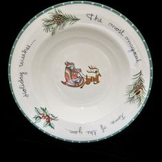 """Mikasa Christmas Wish Rimmed Soup Bowl HK713 Santa Sleigh Holly Pine Boughs 9.5"""" Christmas Dinnerware Holiday Tablescape Decor Servingware by VintageFlicker"""