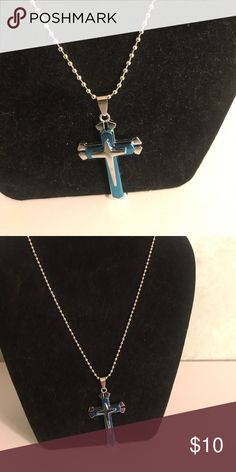 Men's cross necklace Silver and blue titanium cross pendant necklace Accessories Jewelry