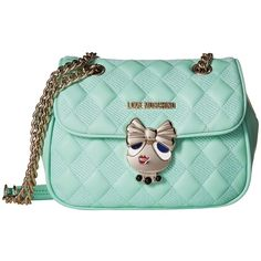 LOVE Moschino Updated Quilted Crossbody Bag with Love Girl Clasp... (€250) ❤ liked on Polyvore featuring bags, handbags, shoulder bags, handbags shoulder bags, hand bags, crossbody purse, man bag and mint green handbags