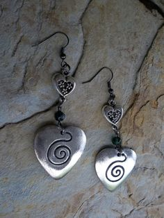 Hearts with green glass bead earrings on by RoseFireDesigns, $20.00