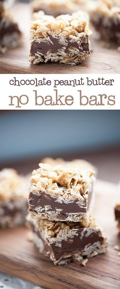These no bake peanut butter bars are made with layers of oatmeal, chocolate, and peanut butter. They're so easy and you don't even need to turn on the oven!