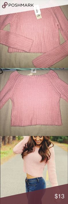 Gorgeous Pink Cropped Sweater Never worn! it is more of a cropped length. Still has tags shophopes Sweaters