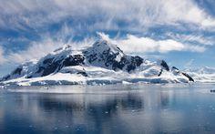 океан, лед, вода, небо, берег, зима, море, снег, горы