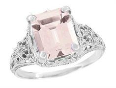 Edwardian Filigree Emerald Cut Morganite Ring in 14 Karat White Gold - $1,210 - http://www.antiquejewelrymall.com/r618m.html