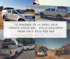 Book your adventure in Rent the right vehicle with all the right gear from us, from only per day. Offer valid on renting a fully equipped Toyota hilux between 13 January to 15 April Toyota Hilux, Renting, Land Cruiser, 4x4, January, Africa, Explore, Adventure, Vehicles
