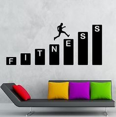 Gym Wall Decal Fitness Health Sports Vinyl Stickers Art Mural (ig2515) Visit: https://youtu.be/bhOk0bcNwjU