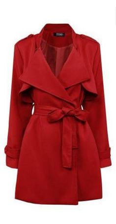Great Coat for Valentine's Day! Love this Shade of Red!  Classic Style Red Belted Trench Coat #Red #Belted #Trench_Coat #Valentines_Day #Fashion #Ideas