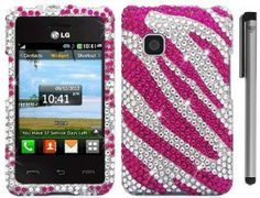 Amazon.com: For Lg 840G Tracfone Full Diamond Hard Cover Case with ApexGears Stylus Pen (Pink Silver Zebra): Cell Phones & Accessories