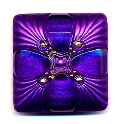 Three Time Treasury Item Art Deco Czech Glass Button Radiant Square Gold Luster Enamel XLG Buttons. $18.00, via Etsy.