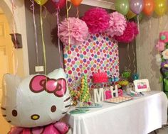 Brightly colored Hello Kitty Birthday Party