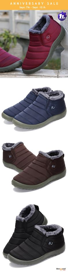 Promotion Price: US$24.99 + Free shipping. Size: 5-12. Color: Black, Blue, Red, Coffee. Fall in love with casual and warm style! Warm Wool Lining Slip On Flat Ankle Snow Boots For Women.