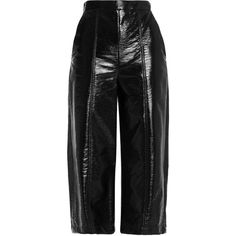Msgm Glossed faux leather culottes (400 PLN) ❤ liked on Polyvore featuring pants, capris, bottoms, trousers, black, flare trousers, flare pants, flared pants, high waisted faux leather pants and fold pants