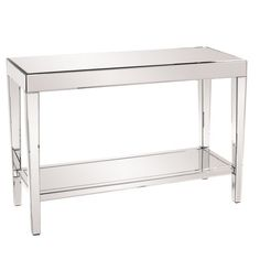 Howard Elliott Orion Mirrored Console Table With Shelf 11096 - Howard Elliott Orion Mirrored Console Table With Shelf 11096This Console Table Features A Simple Rectangular Shape With A Completely Mirrored Body. The Entire Piece Is Mirrored Making For The Most Beautiful Displays Of Light And Reflection. It Has A Bottom Shelf For Extra Storage. Each Mirrored Panel Has A Small Bevel That Adds To The Table's Style And Beauty. This Contemporary Table Will Look Great In An Entryway, Hallway…