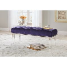 Simple Living Leona Velvet Button Tufted Bench with Legs