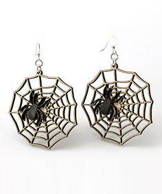 Look at this #zulilyfind! Black Spiderweb Drop Earrings by Green Tree Jewelry #zulilyfinds