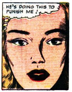 "Comic girls say.""He's doing this to punish me ! "" #vintage #comic #popart"