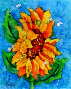 8x10 Watercolor Batik Sunflower by Colorado by MarthaKislingArt, $45.00