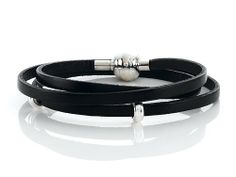 Zable(tm) 22 inches Sterling Silver Black Leather Wrap Bracelet with Magnetic Clasp and Smart Pandora Compatible Bead / Cha Finejewelers. $59.99. Zable(tm) Limited 2 Year Product Warranty. Compatible with Pandora, Chamilia, Biagi & all other styles of bead bracelets. Guaranteed Solid 925 Sterling Silver. Free Zable Jewelry Packaging. Guaranteed Authentic from the Zable designer line
