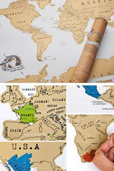 """We LOVE this! A map that you """"scratch"""" to reveal places you have visited. What a great idea! #TravelLove"""