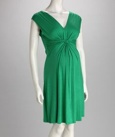 Look what I found on #zulily! Green Knot-Front Maternity Sleeveless Dress #zulilyfinds