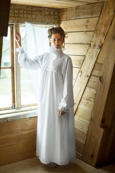 Victorian Winter - long white cotton women s night gown 48a45f69f