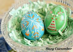 Use paint instead of wax and dye to make Ukrainian Easter eggs.