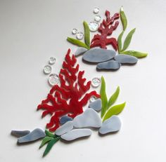 CORAL REEF RED SEA FAN Precut Stained Glass Mosaic Inlay Kit Nautical Ocean Seascape #RachelKratzer. Many original designs selling on ebay.