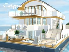 This 4 bedrooms house boat can accomodate up to 8 sims and their pets. The first floor has one large and two medium bedrooms. Partly under sea level, this floor offers a lot of space for leisure. Lotes The Sims 4, Sims 4 House Plans, Casas The Sims 4, Sims House Design, Sims Building, Sims 4 Build, Home Design Plans, House Layouts, Round Stairs