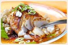 Sauteed Sablefish with Ginger-Soy. Sauteed Sablefish with Ginger-Soy Glaze . one of our Super Seven Sustainable Seafood Picks for World Oceans Day! Cod Fish Recipes, Seafood Recipes, Asian Recipes, Cooking Recipes, Healthy Recipes, Grilled Cod Recipes, Cod Recipe Asian, Skinny Recipes, Bon Appetit