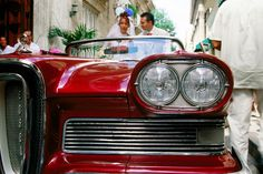 Bride and groom in 1958 Edsel Pacer convertible, Calle Obispo.