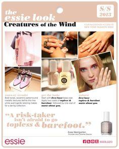 CHIC NYFW l Creatures of the Wind Spring 2013 l Essie www.essie.com