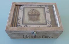 """Caixa de chá """"cupcake"""" com 6 divisões"""