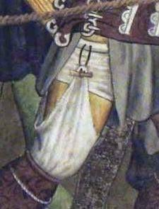 Hose attached to braies belt ca 1410. Fresco by Giacomo Jaquerio at Abbazia di Sant'Antonio di Ranverso, Buttigliera Alta, Italy