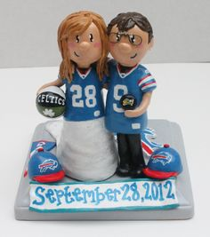 Custom Wedding Cake Topper: Laurie's Buffalo Bills Topper. $60.00, via Etsy. OBVIOUSLY WOULD BE NINERS THOUGH!!!
