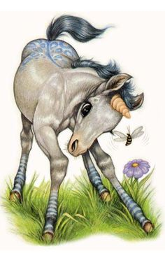 Baby Unicorn ~ By Robin James Loved these books when I was a kid Unicorn Fantasy, Unicorn Art, Fantasy Art, Horse Drawings, Cute Drawings, Magical Creatures, Fantasy Creatures, Robin James, Baby Animals