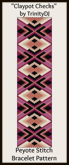 """Claypot Checks"" - New peyote stitch bracelet pattern by TrinityDJ. Will be available soon."